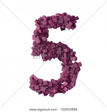 numbers from cubes, 5, five, 3d illustration