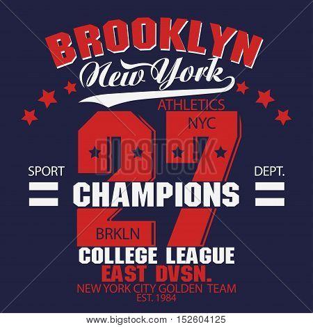 New York Brooklyn Sport wear typography emblem, t-shirt stamp graphics, vintage tee print, athletic apparel design
