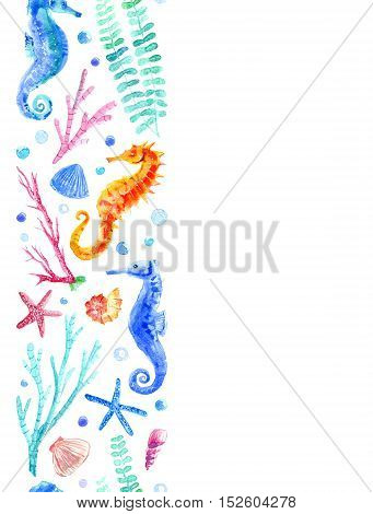Seahorse, shell, starfish, coral and bubbles seamless border.Underwater world image on a white background.Watercolor hand drawn illustration.
