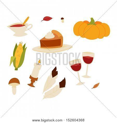 Happy Thanksgiving Day set vector.