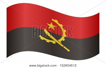 Angolan national official flag. African patriotic symbol banner element background. Correct colors. Flag of Angola waving on white background vector illustration