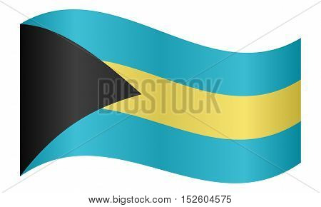 Bahamian national official flag. Patriotic symbol banner element background. Correct colors. Flag of Bahamas waving on white background vector illustration