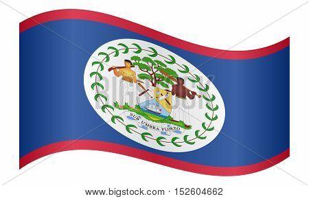 Belizean national official flag. Patriotic symbol banner element background. Correct colors. Flag of Belize waving on white background vector illustration