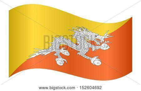 Bhutanese national official flag. Patriotic symbol banner element background. Correct colors. Flag of Bhutan waving on white background vector illustration