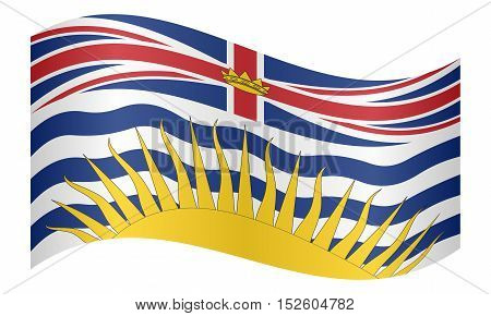 Canadian provincial BC patriotic element and official symbol. Canada banner and background. Flag of the Canadian province of British Columbia waving on white background vector illustration