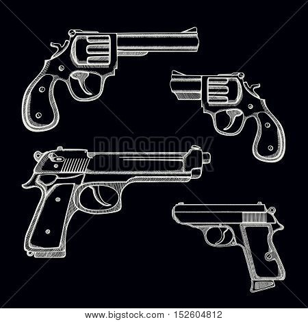 Set of hand drawn guns made of revolvers and handguns