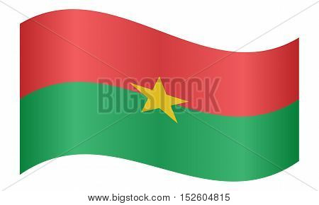 Burkina Faso national official flag. African patriotic symbol banner element background. Correct colors. Flag of Burkina Faso waving on white background vector illustration
