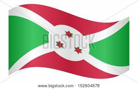Burundian national official flag. African patriotic symbol banner element background. Correct colors. Flag of Burundi waving on white background vector illustration