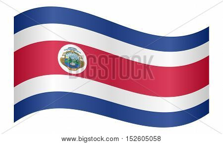 Costa Rican national official flag. Patriotic symbol banner element background. Correct colors. Flag of Costa Rica waving on white background vector illustration