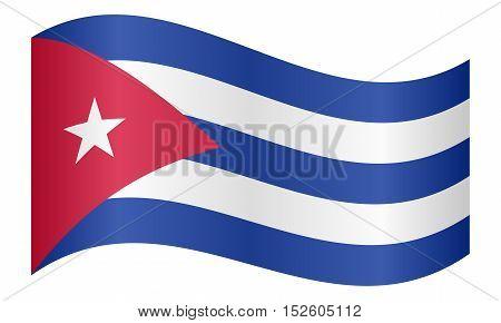 Cuban national official flag. Patriotic symbol banner element background. Correct colors. Flag of Cuba waving on white background vector illustration
