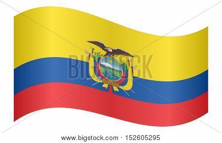 Ecuadorian national official flag. Patriotic symbol banner element background. Correct colors. Flag of Ecuador waving on white background vector illustration