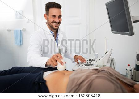 Patient Being Checked With Ultrasound Equipment