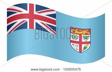 Fijian national official flag. Patriotic symbol banner element background. Correct colors. Flag of Fiji waving on white background vector illustration
