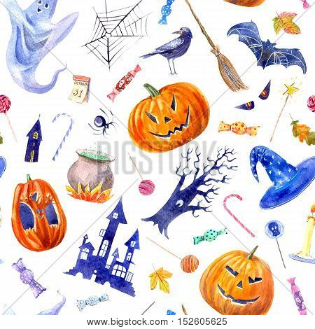 seamless pattern with pumpkin jack-o'-lantern, lollipop,castle,bat,spider,broom,candle,tree,crow,autumn leaves and candy.halloween.watercolor hand drawn illustration.white background.