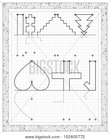 Black and white worksheet on a square paper with exercises for little children. Need to draw the reflection of objects. Logic puzzle. Vector image.