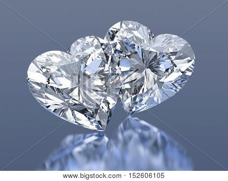 3d Group of 2 diamonds hearts stone on a blue background
