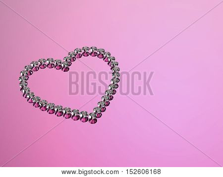 3d diamonds hearts stone on a pink background