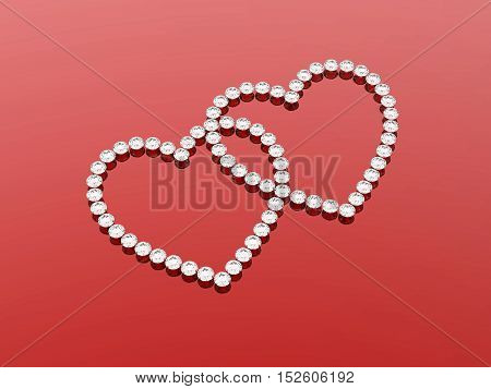 3d  diamonds hearts stone on a red background