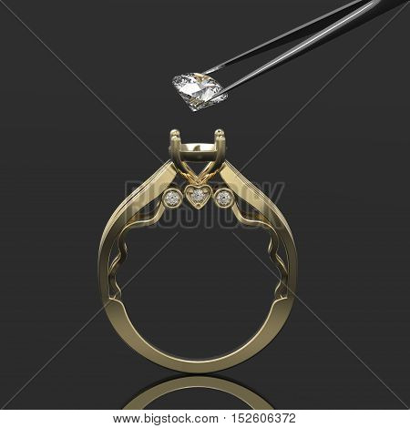 3d gold ring with diamond in tweezer