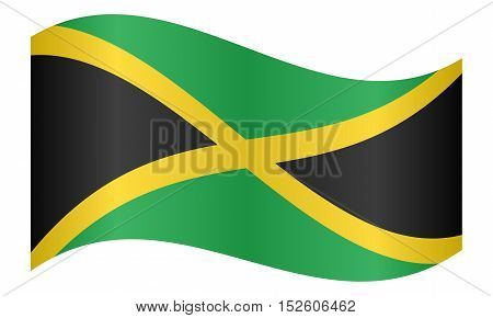 Jamaican national official flag. Patriotic symbol banner element background. Correct colors. Flag of Jamaica waving on white background vector illustration