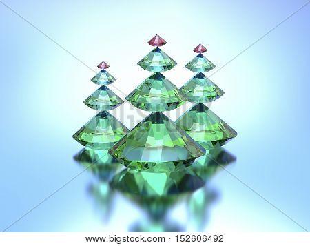 3d Diamonds christmas trees on a blue background