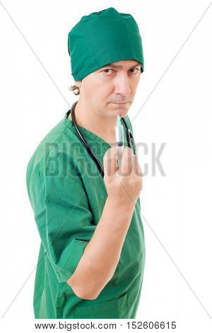 mad nurse with a syringe isolated over white background