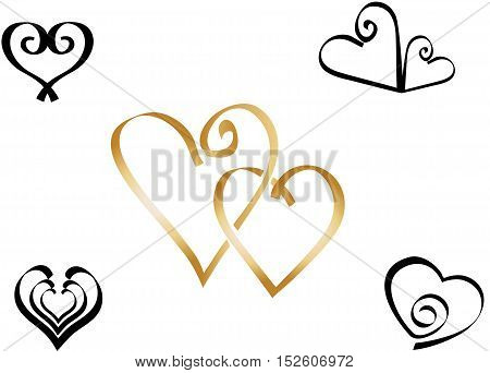 Ribbons-like hearts, symbols of love, romance, wedding