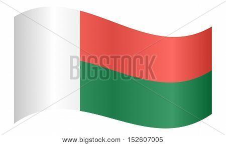 Madagascar national official flag. African patriotic symbol banner element background. Correct colors. Flag of Madagascar waving on white background vector illustration