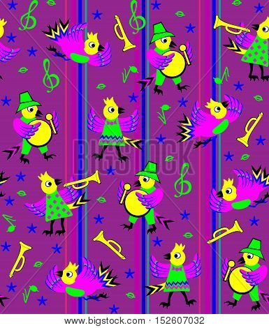Seamless pattern of birds playing different instruments, vector cartoon image.