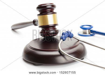 Studio Shot Of Judge Gavel And Blue Stethoscope Near It