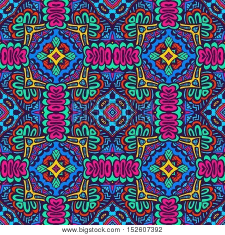 Abstract festive colorful graphic mosaic ethnic tribal pattern. geometric tiled design