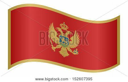 Montenegrin national official flag. Patriotic symbol banner element background. Correct colors. Flag of Montenegro waving on white background vector illustration