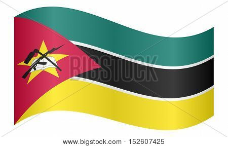 Mozambican national official flag. African patriotic symbol banner element background. Correct colors. Flag of Mozambique waving on white background vector illustration
