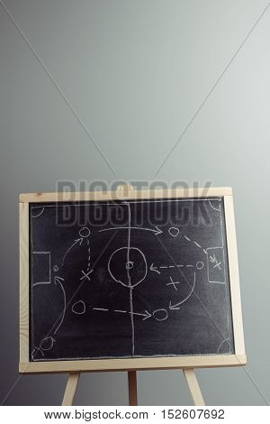 Close Up Of A Soccer Tactics Drawing On Chalkboard