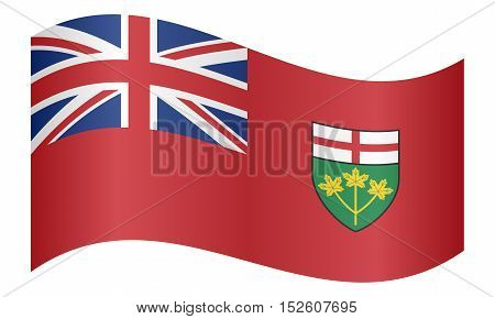 Ontarian provincial flag patriotic element and official symbol. Canada banner and background. Correct colors. Flag of the Canadian province of Ontario waving on white background vector illustration