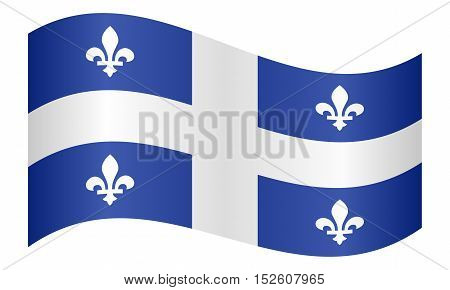 Canadian provincial flag QC patriotic element and official symbol. Canada Quebec banner and background. Correct colors. Flag of the Canadian province of Quebec waving on white background vector