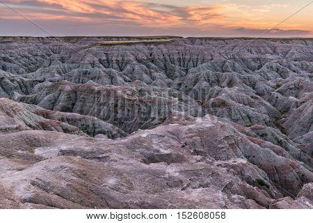 Sunset over Badlands National Park South Dakota