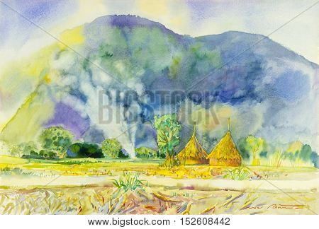 Watercolor landscape original painting colorful of mountain and straw with smoke in hill background