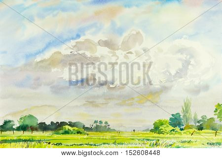 Watercolor landscape original painting colorful of rice field and cloud with mountain and emotion in blue background
