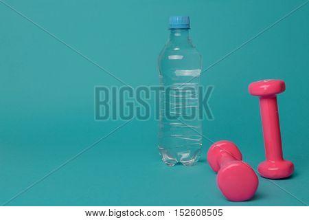Pair Of Pink 1 Kg Dumbbells On Blue Background