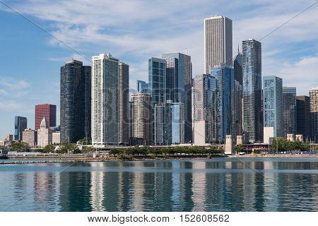Downtown Chicago Illinois skyline along Lake Michigan