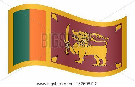Sri Lankan national official flag. Patriotic symbol banner element background. Correct colors. Flag of Sri Lanka waving on white background vector illustration