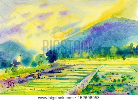 Watercolor landscape original painting of fields mountain and emotion in cloud background