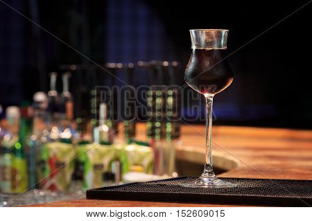 Jagermeister On The Bar Stand. Concept Of Digestive