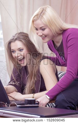 Portrait of Two Emotional Caucasian Girlfriends with Laptop Computer Having Fun Indoors. Positive Facial Expression. Vertical Image