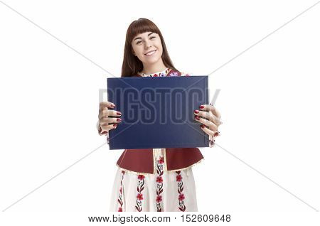 Caucasian Female Brunette Holding Blank Blue Plate for Text in Front. Smiling Facial Expression. Isolated Against White. Horizontal Image
