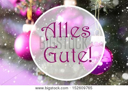 Christmas Tree With Rose Quartz Balls. Close Up Or Macro View. Christmas Card For Seasons Greetings. Snowflakes For Winter Atmosphere. German Text Alles Gute Means Best Wishes