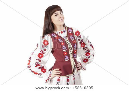 Smiling Brunette Woman Posing in Unique Hand-Made Belarus National Costume Dress. Against Pure White Background. Horizontal Image