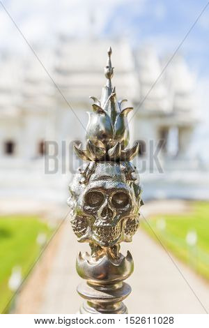 Shaped Skull Of Pillar Top In Temple Of Thailand. It's Hell Territory Simulation