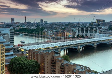 Sunset skyline of city of London and Blackfriars Bridge, England, Great Britain